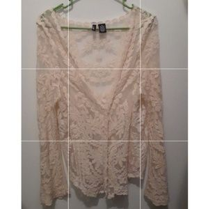 Lace shawl/pull over with bell sleeves